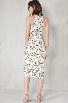 Cream & Black Abstract Print Collar Neck Tie Belt Midi Dress