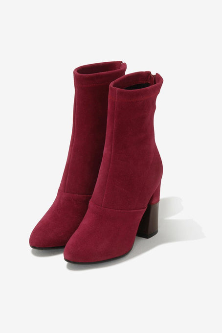 Berry Suede Leather Contrast High Ankle Sock Boots