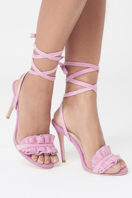 Wrap Ankle Ruffle Stiletto Heels in Pink Suede