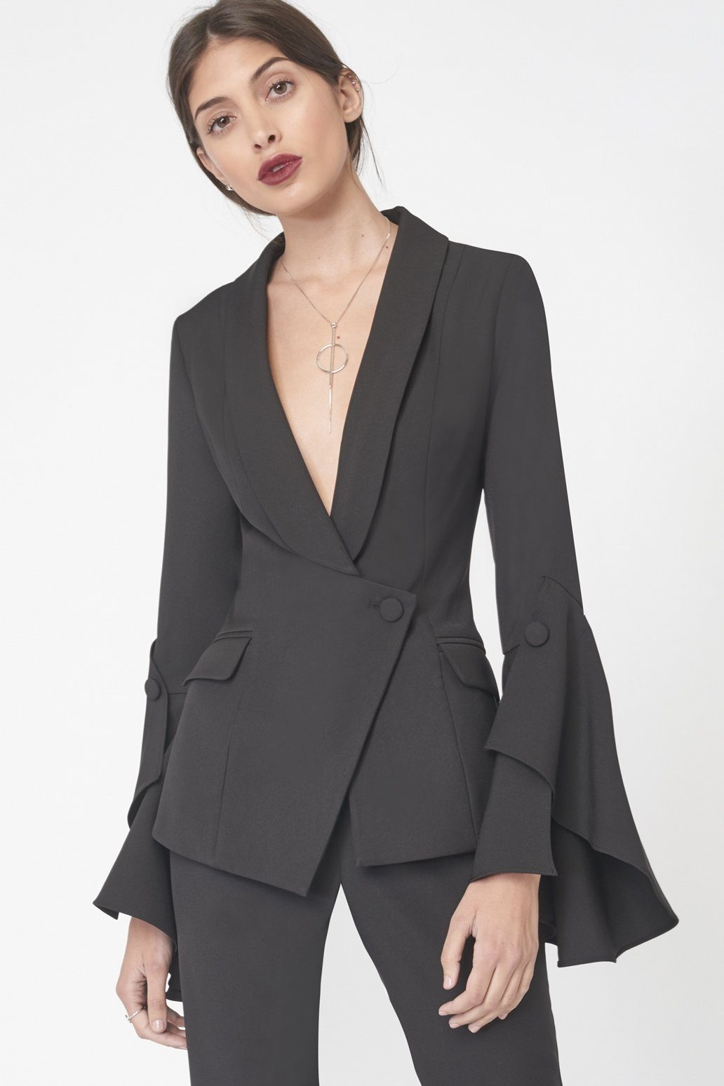 Bell Ruffle Tailored Blazer in Black