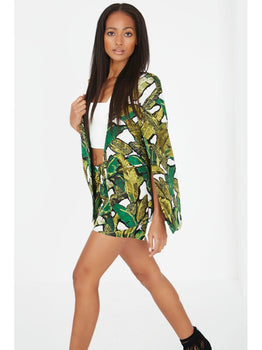 Banana Leaf Print Collarless Cape Blazer