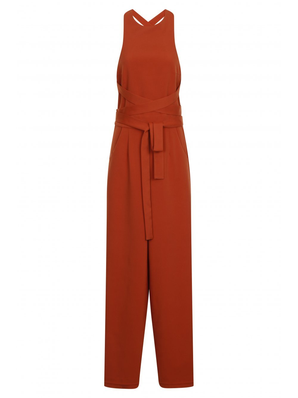 Rust Cross Strap Tie Detail Wide Leg Jumpsuit