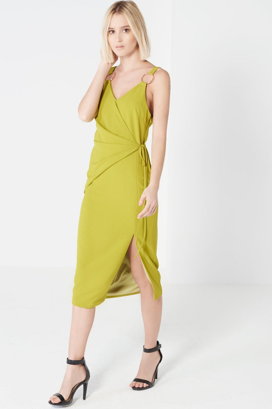 Olive Green Tie Wrap Front Rose Gold Ring Detail Midi Dress