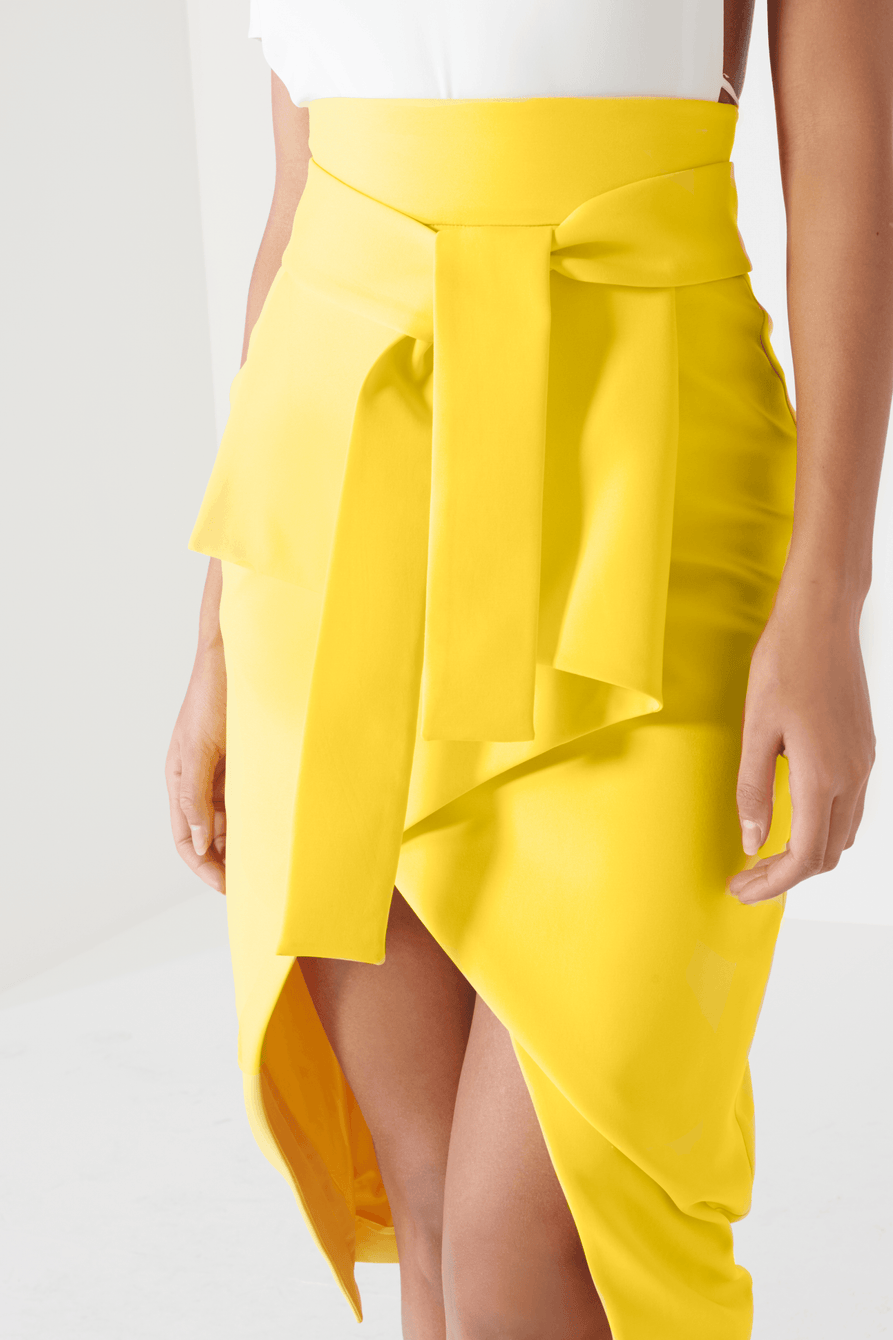 Canary Yellow Tie Front Asymmetric Wrap Midi Skirt