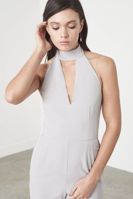 Grey Keyhole High Neck Deep Plunge Jumpsuit