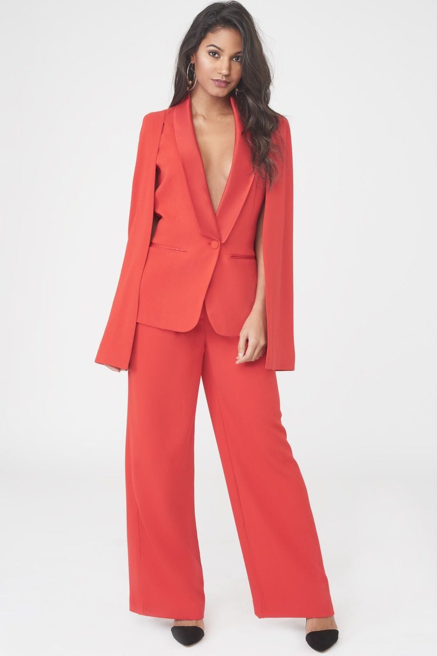 Gathered Waist Wide Leg Trouser in Red