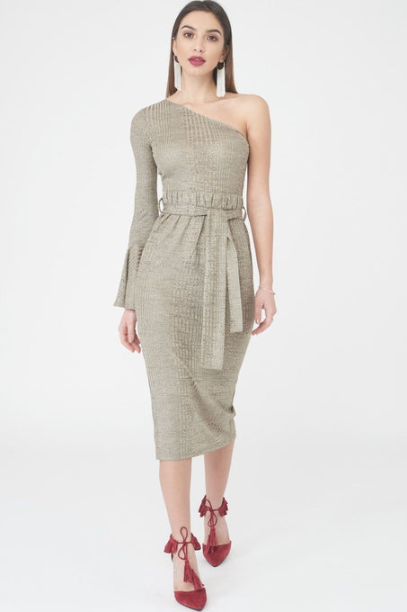 One Shoulder Paperbag Waist Rib Knit Dress in Gold