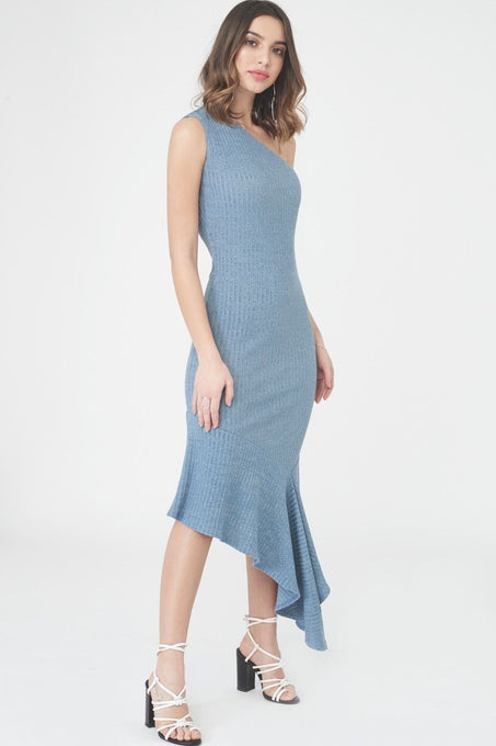 Rib Knit Asymmetric Dress