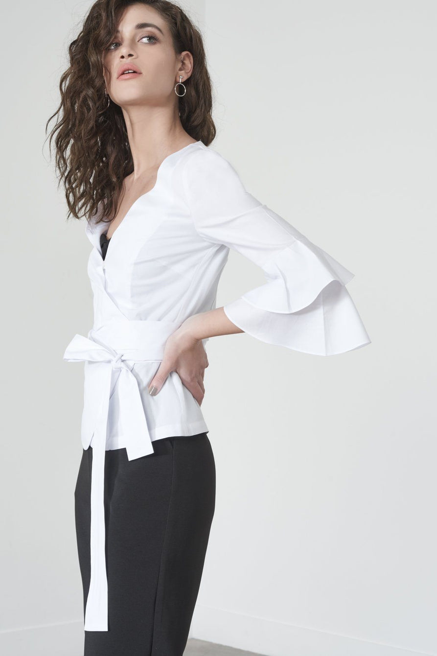 ee7f9745671a3a Ruffle Sleeve Wrapover Shirt in White – Lavish Alice