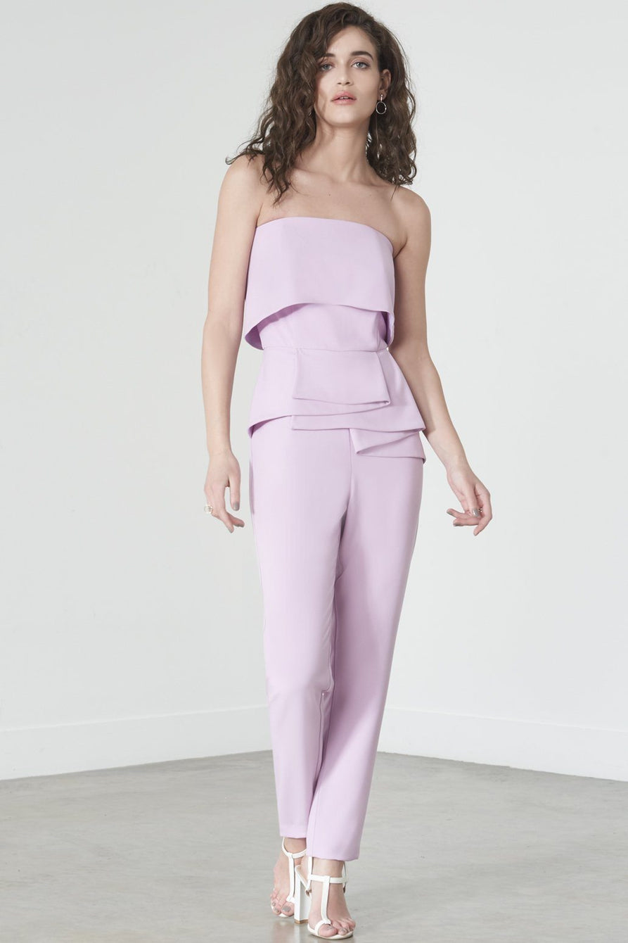 Strapless Frill Jumpsuit in Lilac