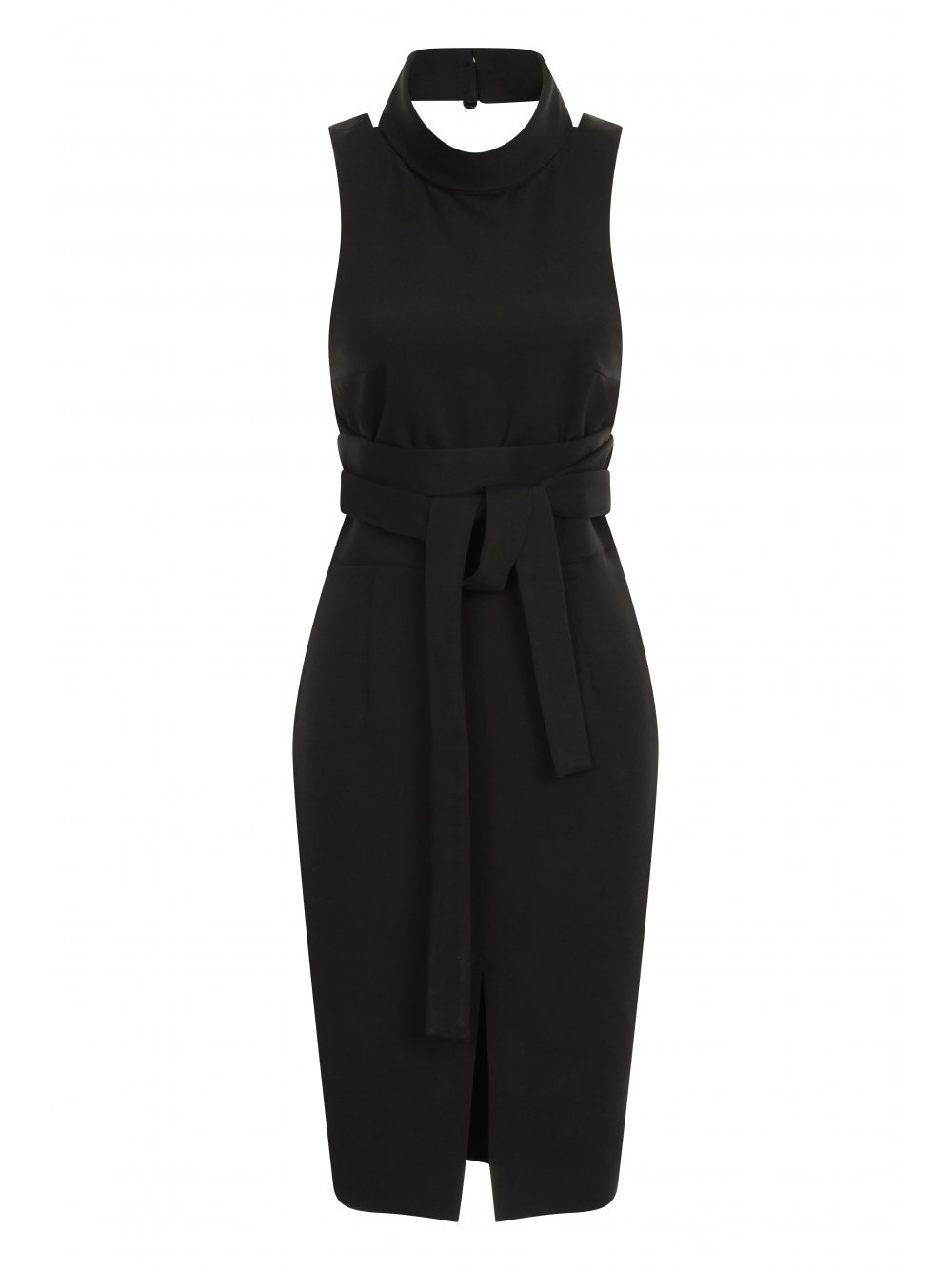 Black Cross Strap Tie Detail High Neck Midi Dress