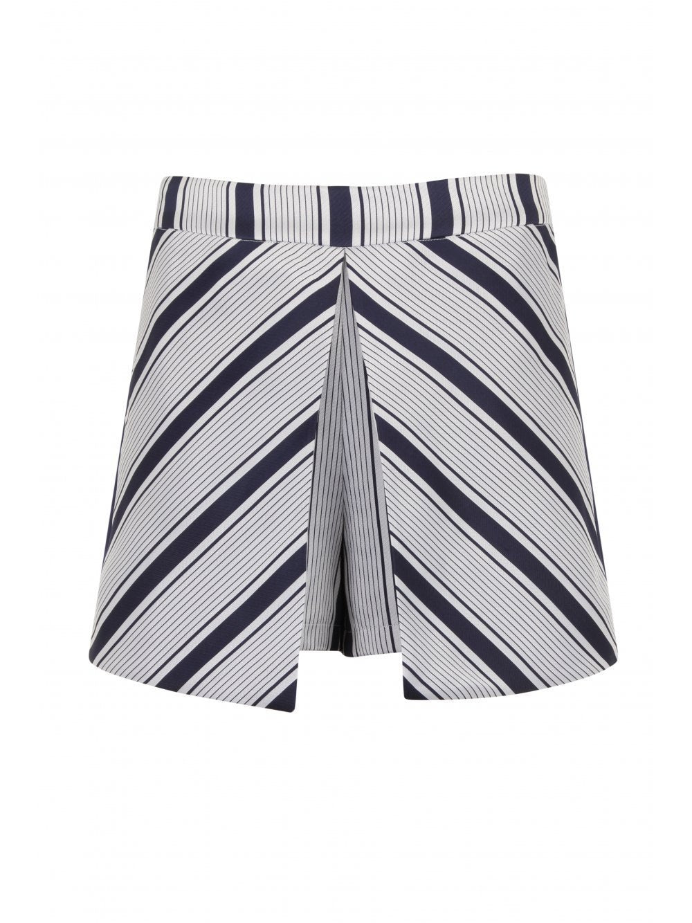 Navy & White Stripe Print Shorts