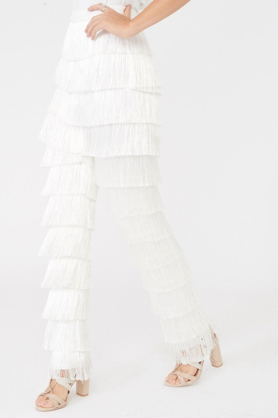 White Fringe Trousers