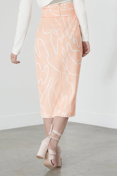 Squiggle Print Skirt in Nude & White