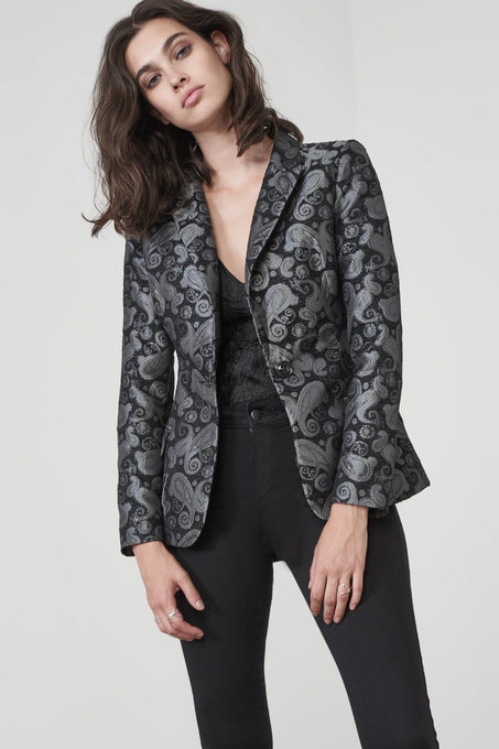 Black Brocade Longline Fitted Blazer