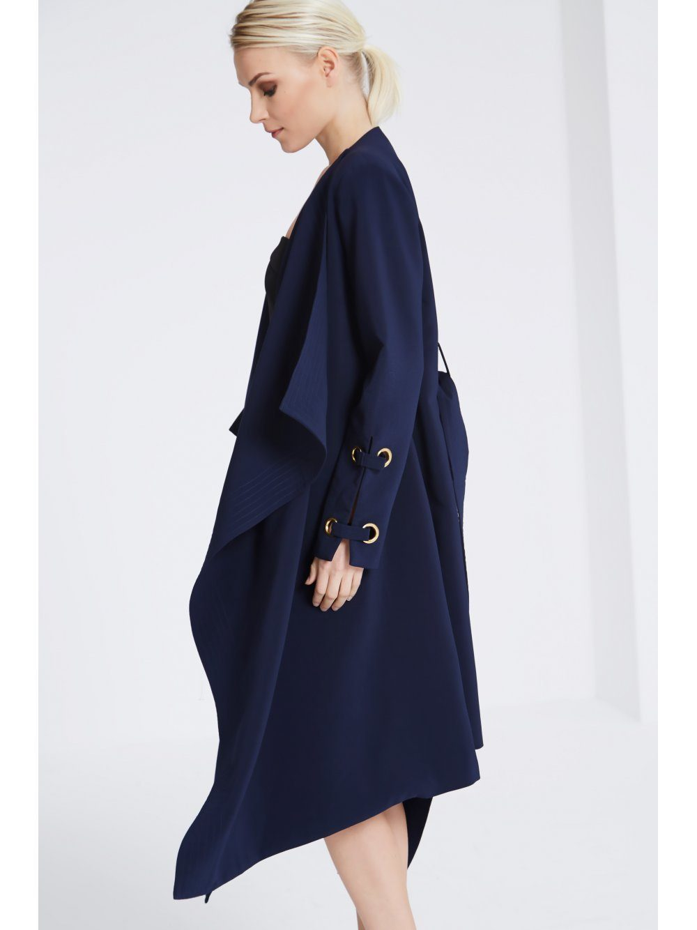 Navy Oversized Collar Eyelet Sleeve Tailored Coat