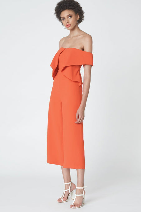 Drop Shoulder Origami Jumpsuit in Flame Orange