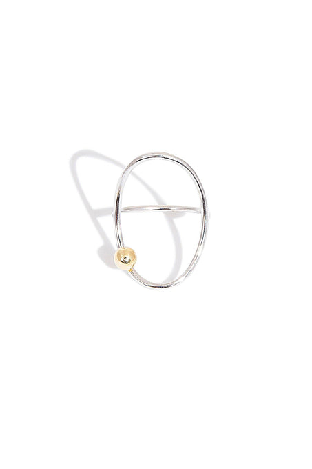 Sterling Silver Minimal Ring with Gold Plated Bead