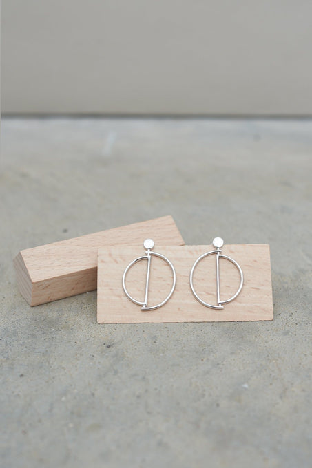 Sterling Silver Geo Hoop Earrings