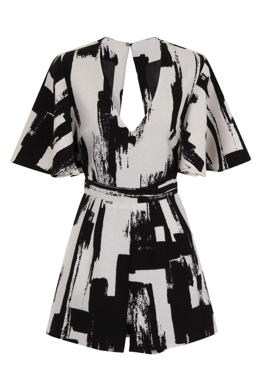 Monochrome Brush Print Kimono Sleeve Open Tie Back Playsuit