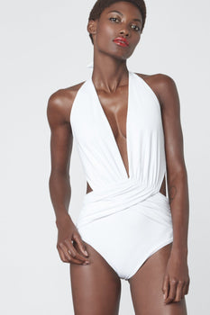 Ruche Wrap Swimsuit in White