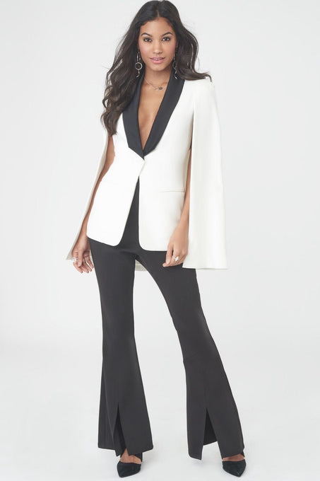 Split Front Trousers with Satin Waistband