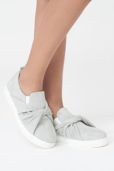 Twist Front Trainers in Grey Suede