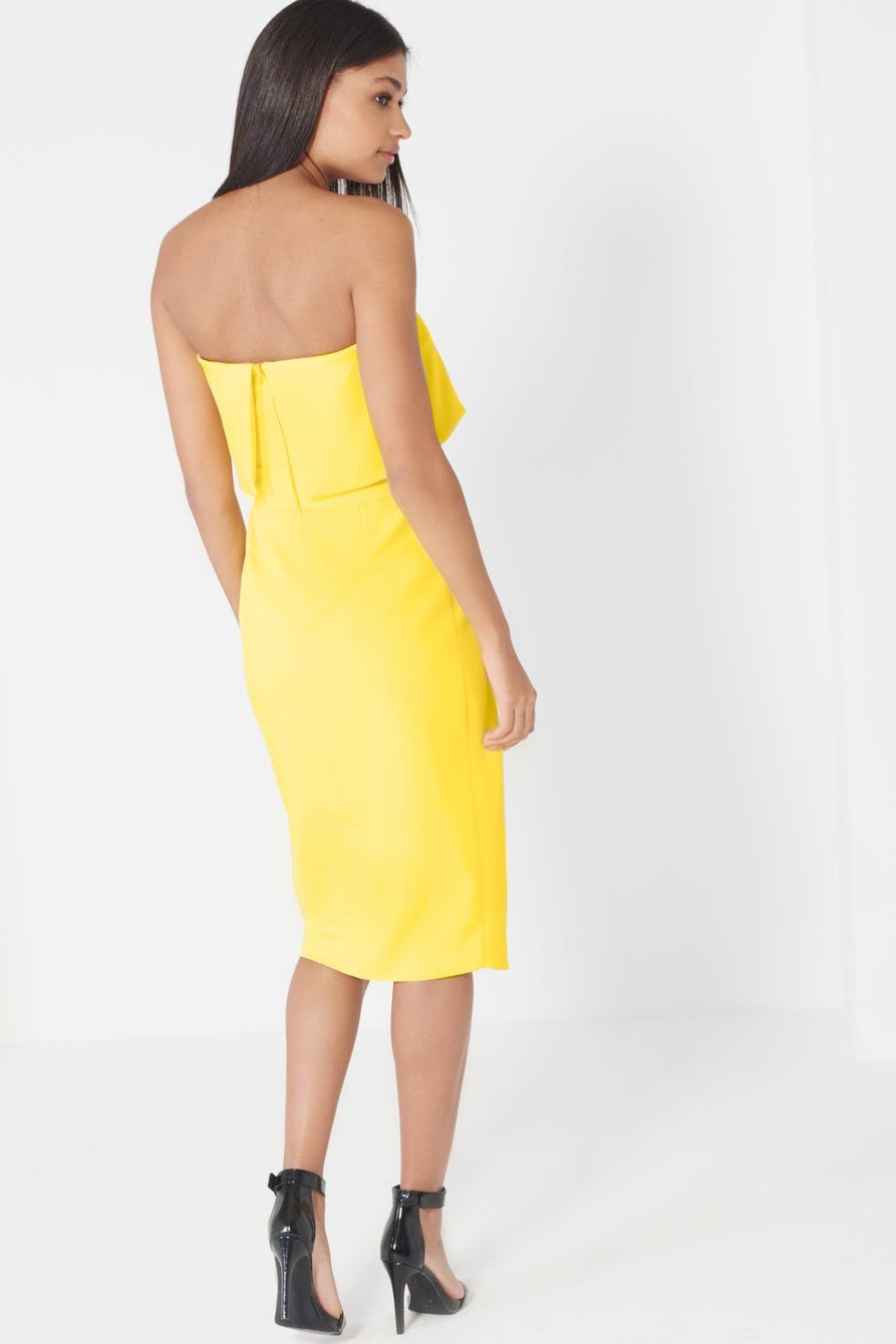 ece28e4a947d Canary Yellow Bandeau Cropped Tie Front Midi Dress – Lavish Alice