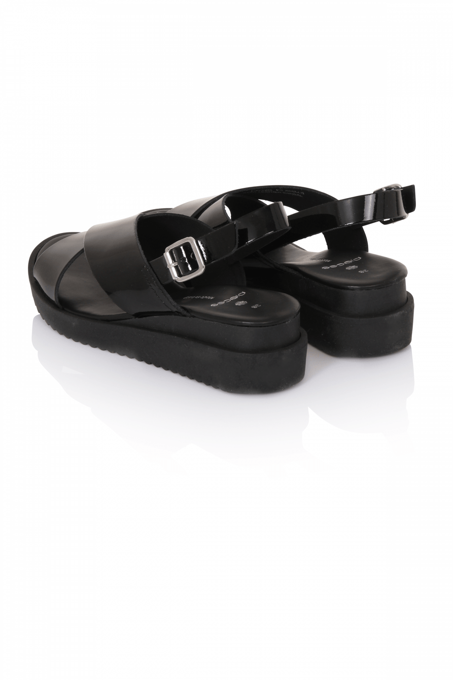Black Patent Leather Crossover Sandals