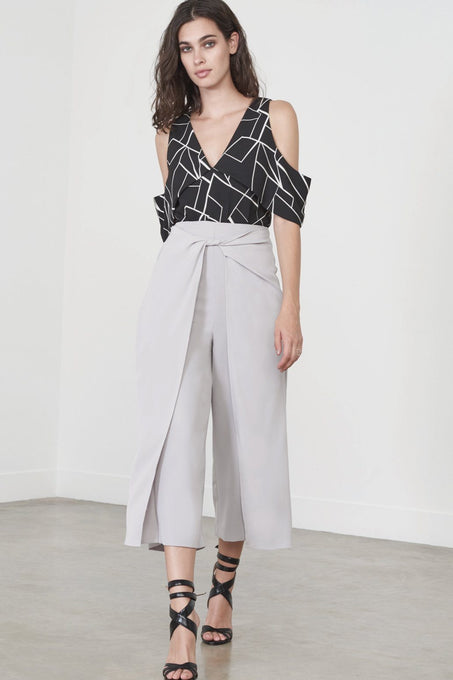 Twisted Hakama Culottes in Dove Grey