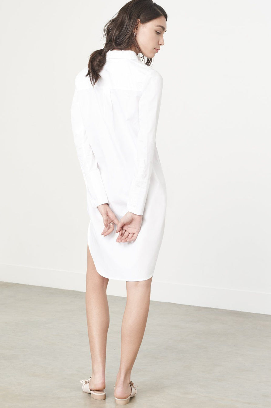 Twist Front Shirt Dress in White
