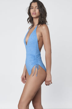 Ruche Side Swimsuit in Blue Marl