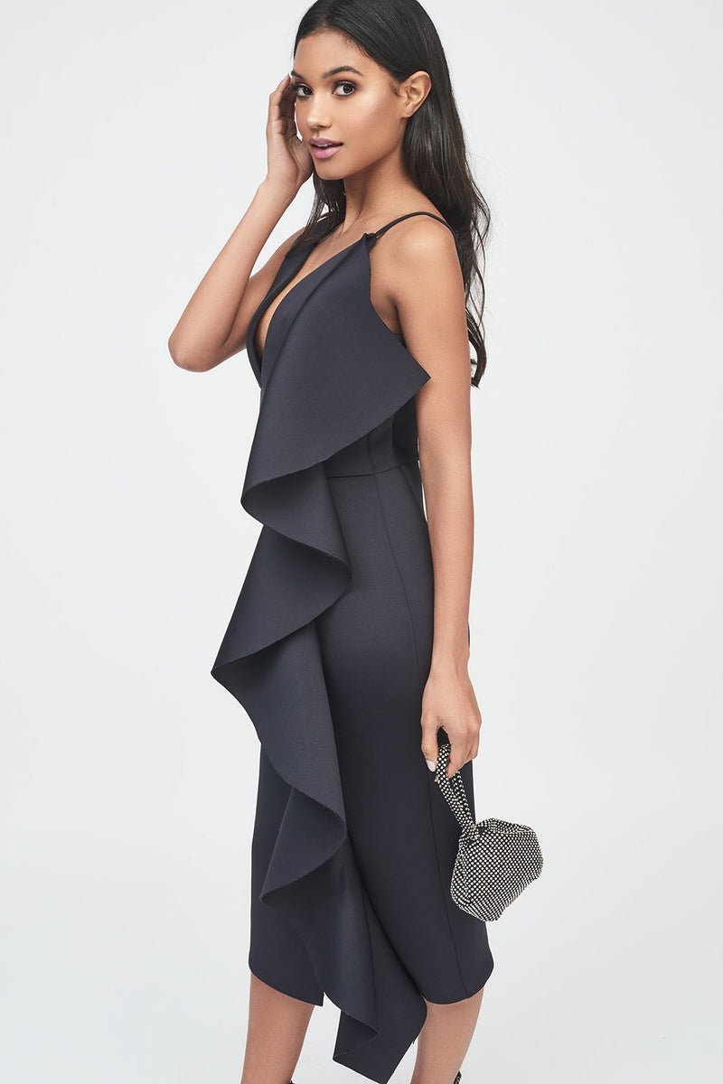 Black Draped Frill Midi Dress in Scuba