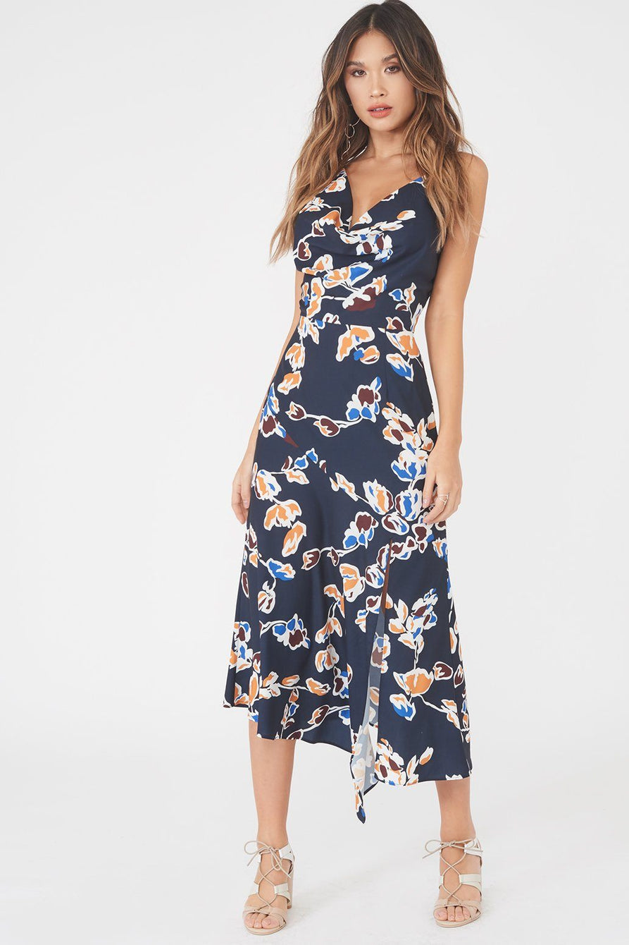 Cowl Neck Floral Midi Dress in Navy Floral