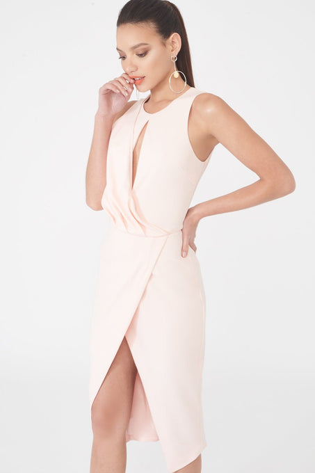 Draped Asymmetric Wrap Midi Dress in Nude