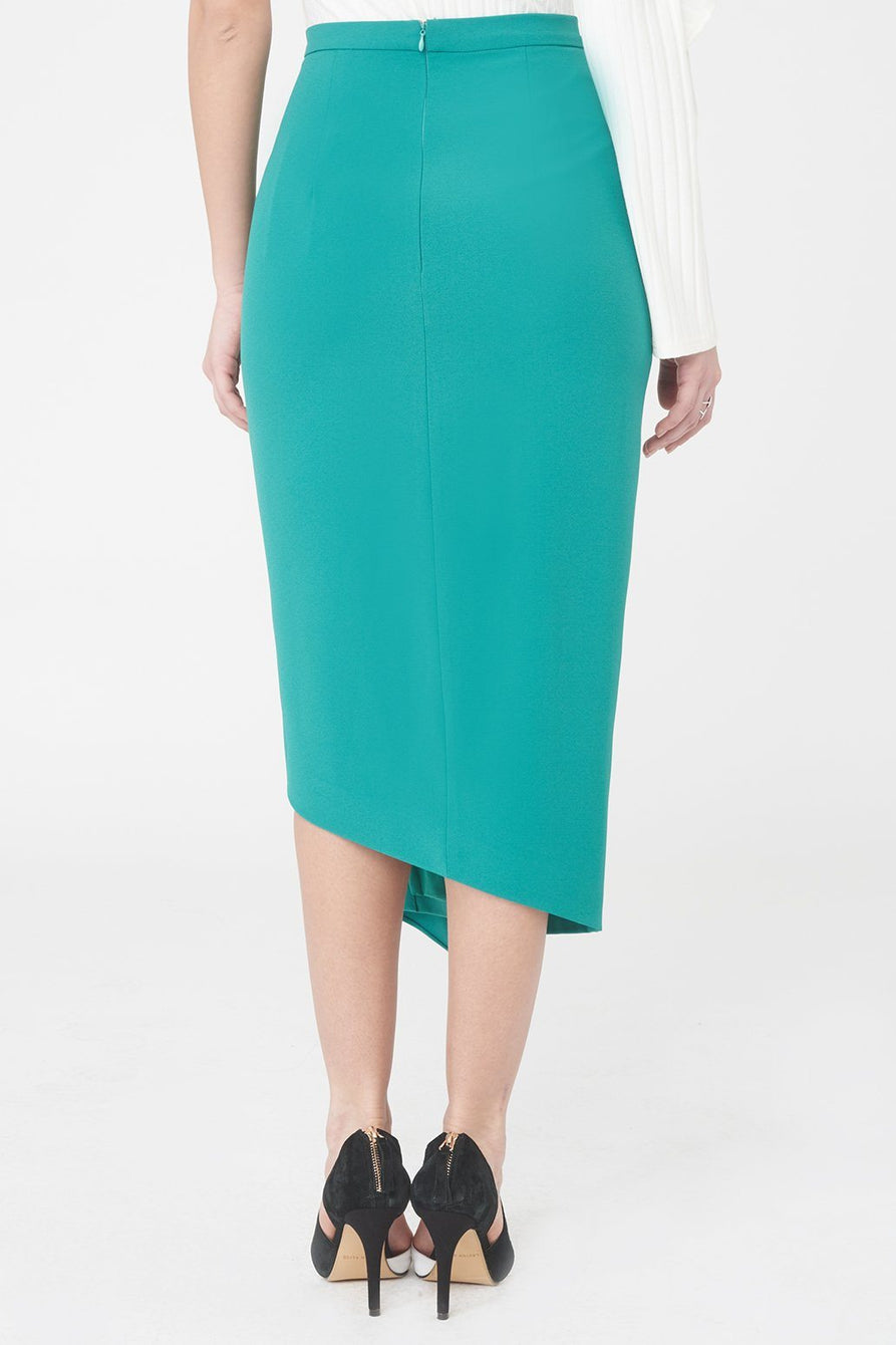 Woven Midi Skirt with Asymmetric Draped Peplum in Jade Green