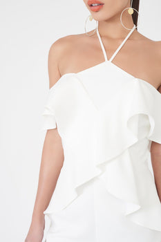 Frill Halterneck Jumpsuit in White