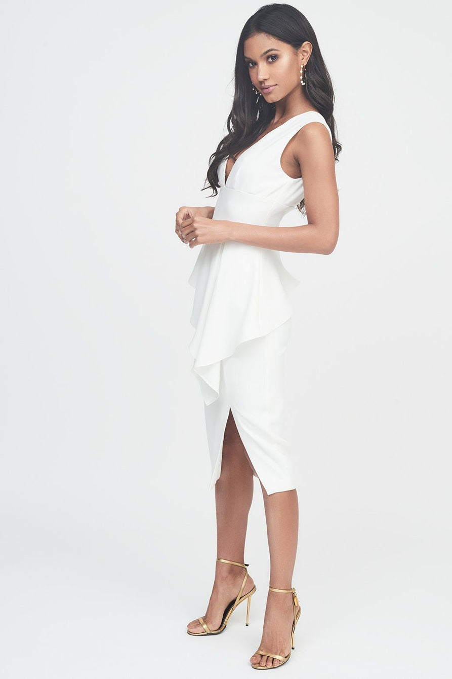 Asymmetric Plunge Front Midi Dress