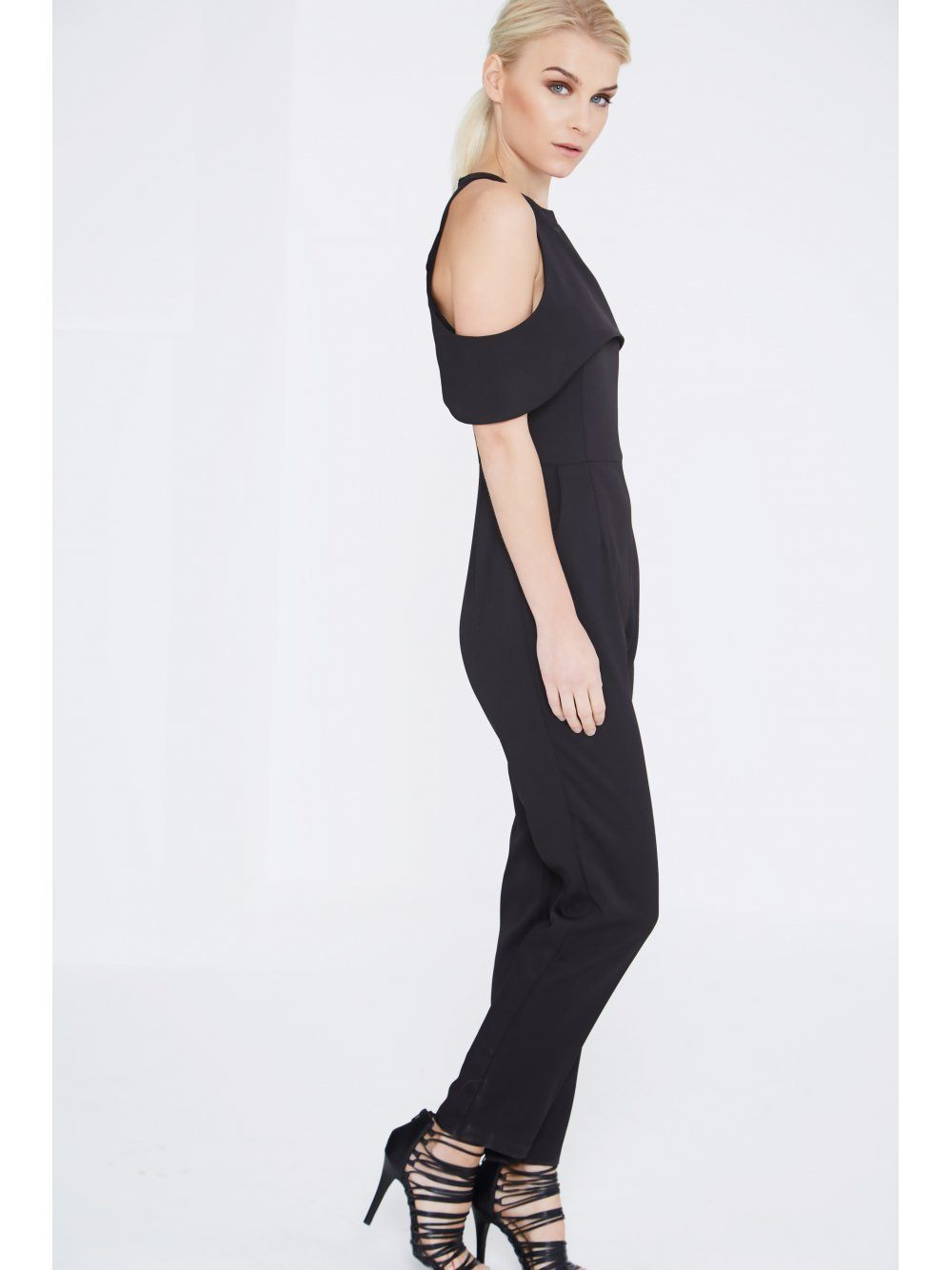 Black Open Sleeve Tapered Leg Jumpsuit