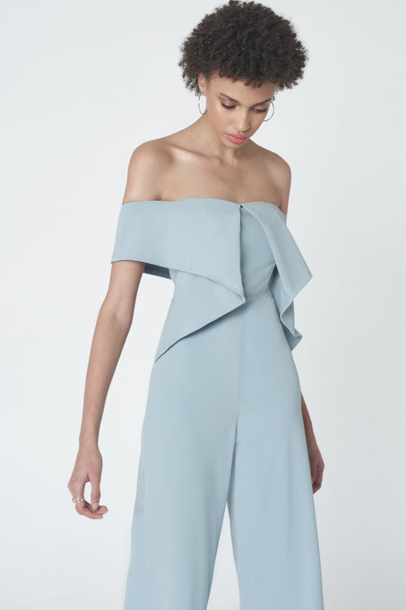 Drop Shoulder Origami Jumpsuit in Powder Blue