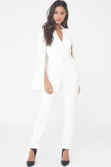 Notched Collar Cape Jumpsuit