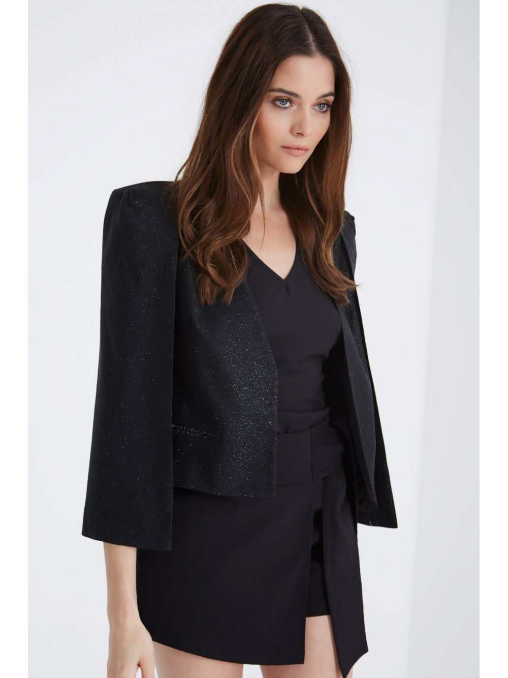Black Sparkle Cropped Cape Blazer