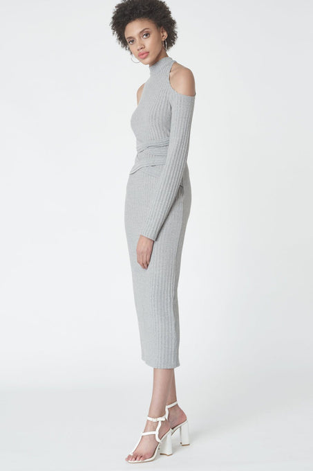 Criss Cross Cold Shoulder Dress in Grey Knit