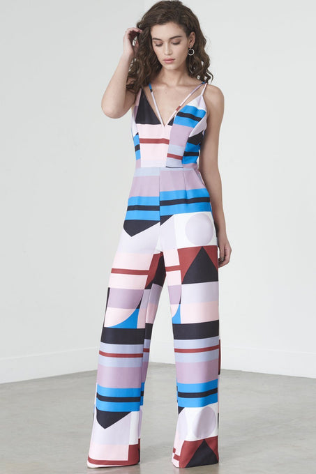 Wide Leg Jumpsuit in Graphic Print