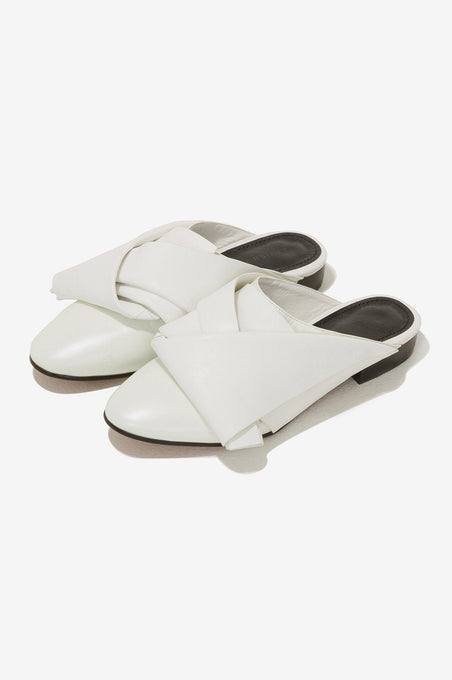 Leather Fold Backless Mules in Ivory
