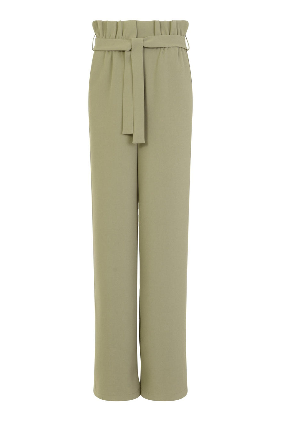 Paperbag Waist Wide Leg Trousers in Khaki