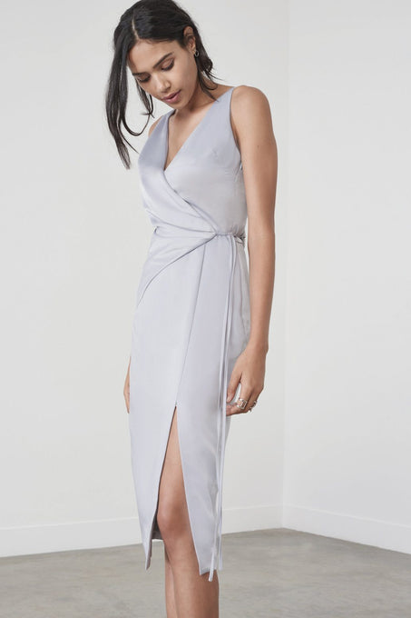 V Neck Origami Dress in Dusty Blue Satin