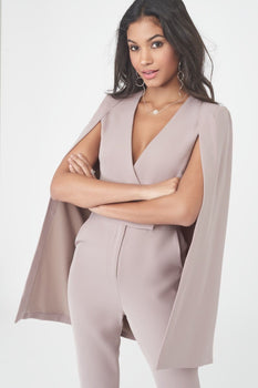 Collarless Cape Jumpsuit