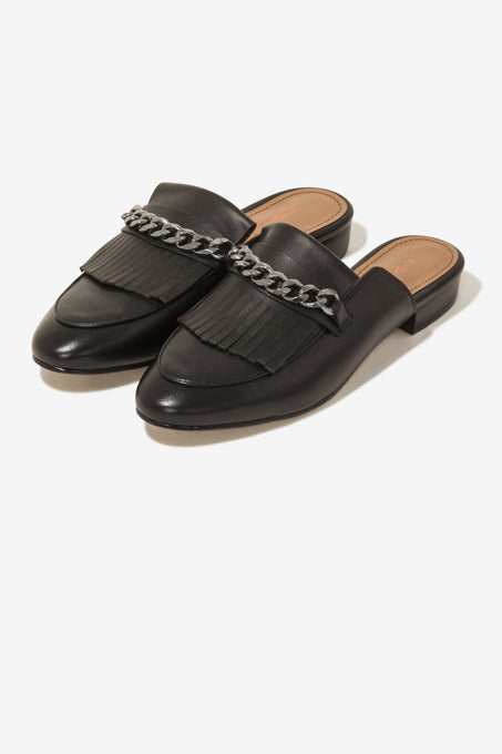 Loafer Mules in Black Leather