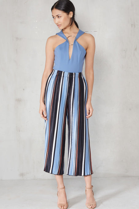 Blue, Camel & White Stripe Print Pleated Satin Culottes
